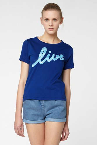 L!VE Short Sleeve Embroidered Print Crewneck T-Shirt