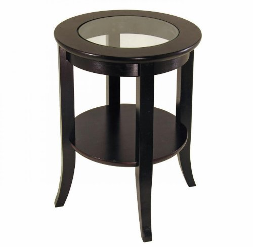 End Table Wood Espresso Round Dark New Coffee Tables Cofee Glass Side Ebay