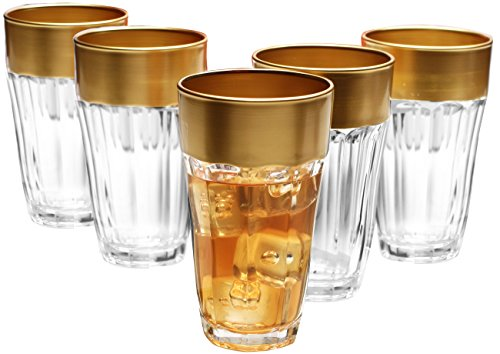 Circleware De'ore High Class, Glass Drinking Glasses Set with Gold Rim, 12 Ounce, Set of 6, Limited Edition Glassware Drinkware Drink Cups (Pitcher Sets Gold compare prices)