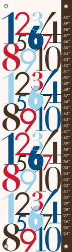 Oopsy Daisy Modern Numbers, Red and Blue Growth Chart by Patchi Cancado, 12 by 42-Inch