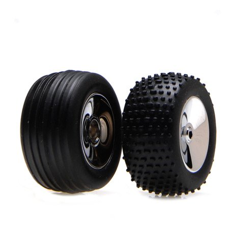 Front/Rear Wheels & Tires, Chrome: Micro-T/B/DT - 1