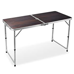 yaheetech 4 foot aluminum folding camping table red sports outdoors. Black Bedroom Furniture Sets. Home Design Ideas