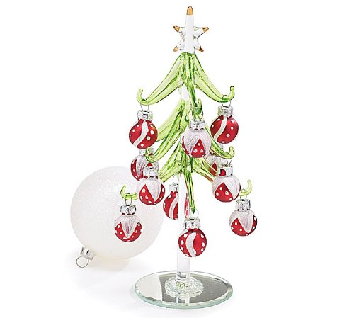 Glass christmas tree table decorations photograph to
