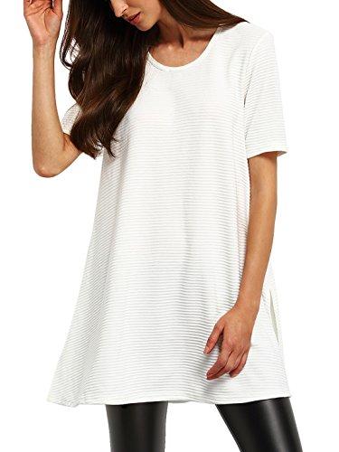 SheIn Women's Ribbed Side Split T-shirt Short Sleeve Slit Long Tee Medium White