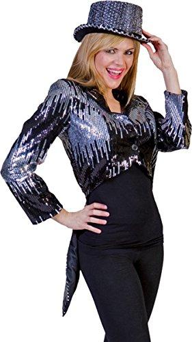 [Morris Costumes Women's GLITTER TAILCOAT SILVER MEDIUM] (Womens Tailcoat Costume)