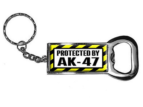Graphics and More Ring Bottlecap Opener Key Chain, Protected by AK-47 (KK0115) (Ak 47 Bottle Opener compare prices)