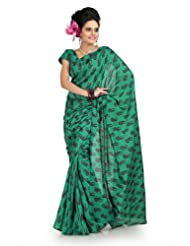 Designersareez Women Bhagalpuri Silk Printed Green Saree With Unstitched Blouse(1007)