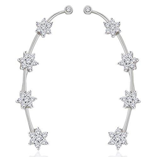 the-jewelbox-white-rhodium-plated-nakshatra-flower-ear-cuff-pair