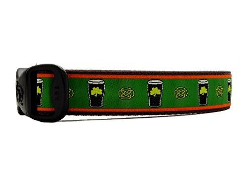 3 Dirty Dawgz Exclusive Adjustable Irish Celtic St. Patrick's Day Beer Pints Dog Collars for Medium Large and X-large Dogs