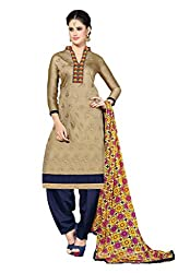 Suchi Fashion Embroidered Beige & Blue Chanderi Dress Material