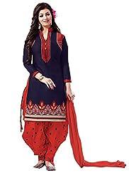 Fashion Kanya Dark Blue & Red Cotton Dress Material