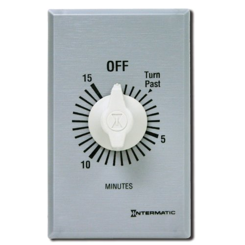 Intermatic Ff460M 60-Minute Spring Loaded Wall Timer, Brushed Metal