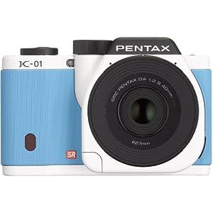 PENTAX ミラーレス一眼 K-01 レンズキット [DA40mmF2.8XS] ホワイト×ブルー K-01 WHITE/BLUE 15383