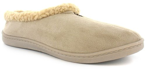 Womens/Ladies Beige Fur Lined Mule Slippers - Beige - UK 5