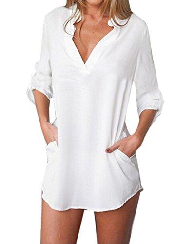 ZANZEA Donna Sexy V-Neck Chiffon Maniche Lunghe Camicetta Camicia Tops Shirt Bianco IT 42/US 10