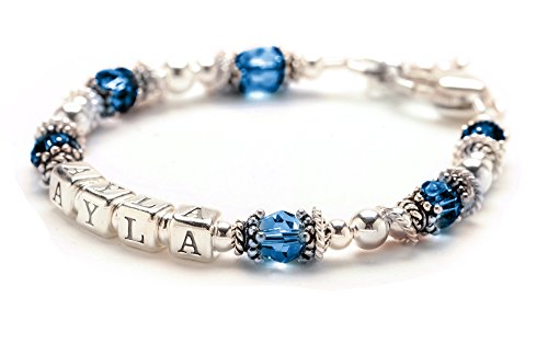 Personalized Baby Childs Bracelet - September Birthday Crystal & Sterling Silver - Growth Chain, Charm front-223058