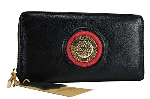FERETI nero e rosso vera pelle Portafoglio Lungo Zip Porta Monete Titolare Della Carta Pochette Portafoglio Borsetta