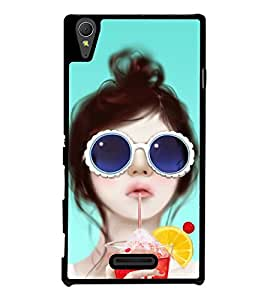 Fuson Premium 2D Back Case Cover Cute girl With Black Background Degined For Sony Xperia T3