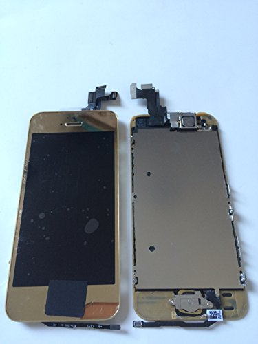 Lcd Display Touch Screen Glass Digitizer Assembly With Spare Parts (Home Button & Camera & Flex Cable Sensor)5S Mirror Gold