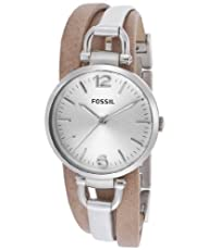 Fossil Georgia Three-Hand Leather Watch – Two-Tone Es3409