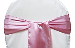 MDS Pack of 25 satin chair sashes bow sash for wedding and Events Supplies Party Decoration chair cover sash -Dusty Pink