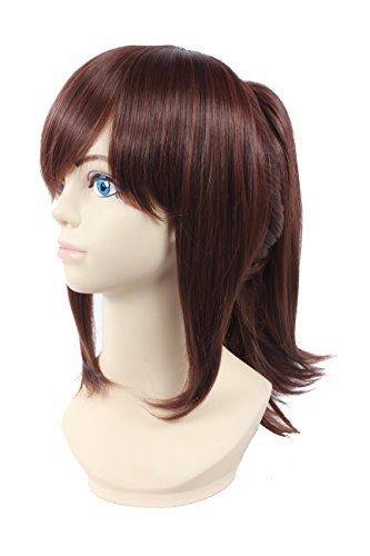Angelaicos Women's Prestyled Ponytail Cosplay Costume Full Wig Medium Red Brown (Brown Ponytail Wig)