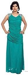 Carrel Imported Power Net Fabric Sea Green Colour Free Size Women Embroiodered Maxi Dress