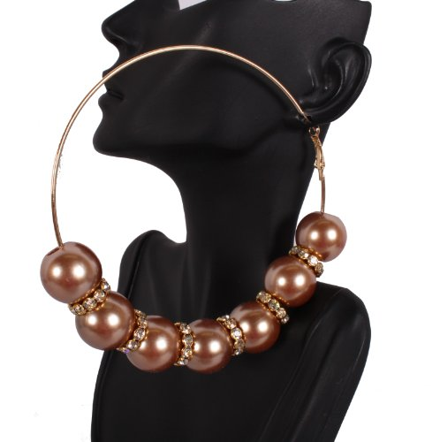 Basketball Wives Gold 4 Inch Hoop Earrings with 6 Balls and Iced Out Rondelle Loops Mob Poparazzi