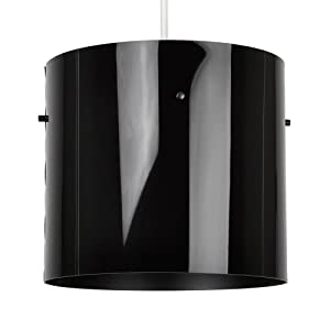 Modern Gloss Black Cylinder Ceiling Pendant Light Shade