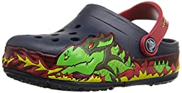 crocs Kids\' CrocsLights Fire Dragon Light-Up Clog  (Infant/Toddler/Little Kid/Big Kid), Navy ,2 M US Little Kid
