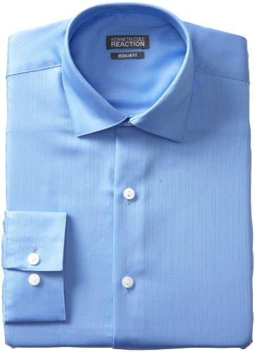 Kenneth Cole Reaction Men's Textured Solid Dress Shirt, Blue, 17.5 32-33