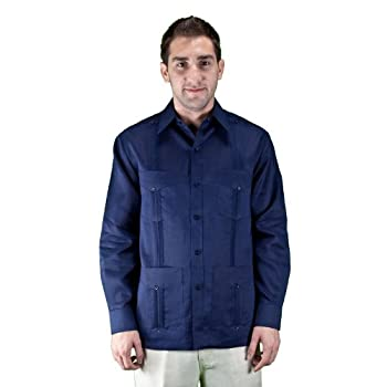 100% linen long sleeve navy guayabera shirt