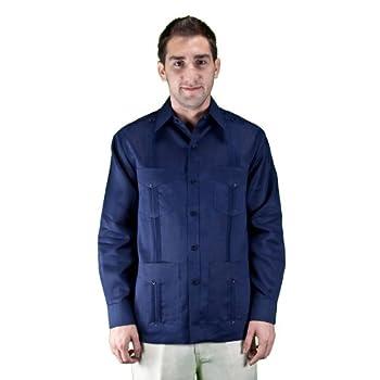 100% linen long sleeve navy guayabera shirt