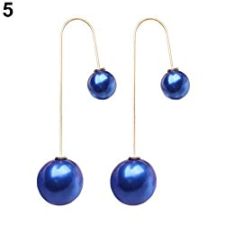 Sorellaz Sorellaz Double Sided Royal BLue Pearl Earrings (approx 2.2 inch)