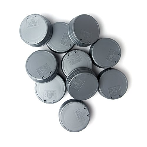 ReCAP Mason Jars FLIP, Regular Mouth, Canning Jar Lid, Silver - 10 Pack