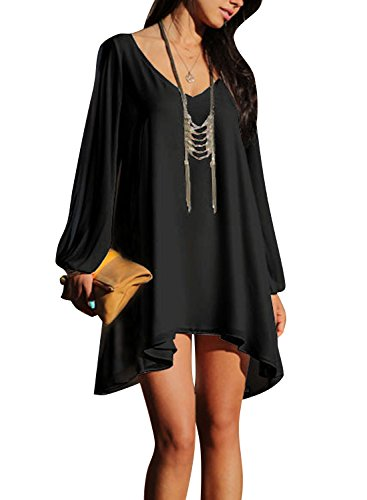 Viwenni Sexy Womens V-Neck Loose Irregular Hem Summer Chiffon Short Beach Dress Black Size Small