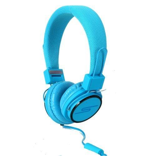 SoulBuddy S-type Kopfhörer mit Mikrofon / Headset, für Telefon und PC (Skype) blau