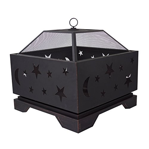 Pleasant-Hearth-Stargazer-Wood-Burning-Patio-Firepit-with-Spark-Guard-Cover