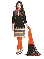 PShopee Black & Orange Embroidery Cotton Unstitched Multistylist Dress Material