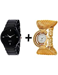 GTC_ COMBO OF BLACK QUARTZ ANALOG WATCH FOR MAN WITH GOLDEN BRACELET ANALOG WA...