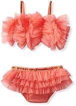 Mud Pie Girls 2-6x Ruffle Bikini Swimsuit, Coral, 3T