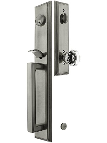 """Melrose Style Tubular Handleset In Antique Pewter With Old Town Knobs And 2 3/8"""" Backset. Antique Handles. front-834176"""
