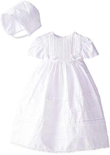 Haddad Brothers Baby-Girls Newborn Christening Baptism Special Occasion 100 percent Cotton Dress with Tucking, White, 0-3 Months