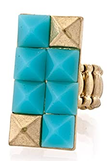buy Trendy Fashion Jewelry Stud Rectangular Ring By Fashion Destination | (Baby Blue)