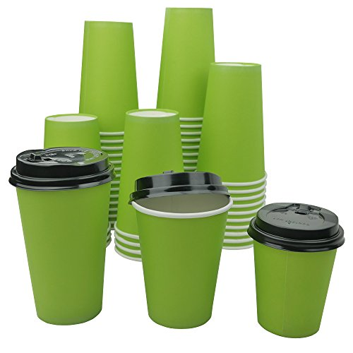 Kekow Paper Hot Cups with Lids, 12 Oz, Capacity, Green (Case of 50) O