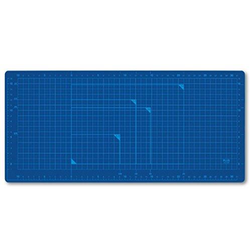 プラス カッティングマット 両面 A4ワイド 210×450mm 48-575 ブルー