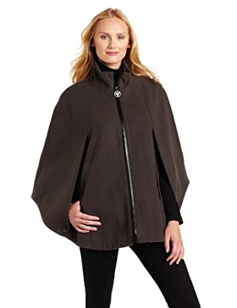 Larry Levine Women's Trendy Fall Cape, Charcoal, Small