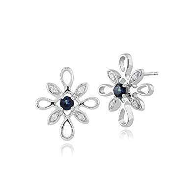 Gemondo Sapphire Earrings, 9ct White Gold 0.12ct Sapphire & Diamond Star Shaped Stud Earrings