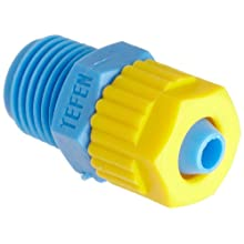 Tefen Fiberglass Polypropylene Compression Tube Fitting, Adapter, Yellow/Blue, Tube OD x BSPT Male