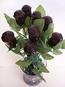 Long Stem Solid Chocolate Roses 6 Milk chocolate & 6 Dark Chocolate